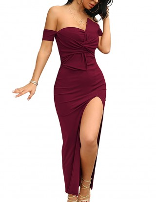 Versatile Fit Wine Red Off Shoulder Tie High Slit Evening Dress Fashion
