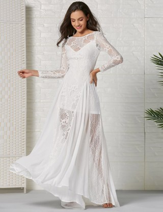 Fantasy White Lace Open Back Hollow Out Evening Dress Leisure Wear