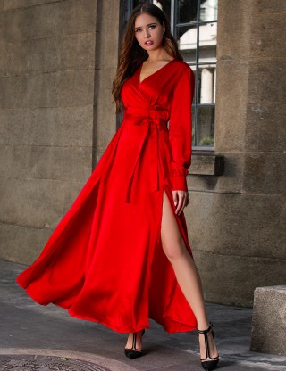 Liberty Red Tie Waist Zip At Back Evening Dress Ideal Choice