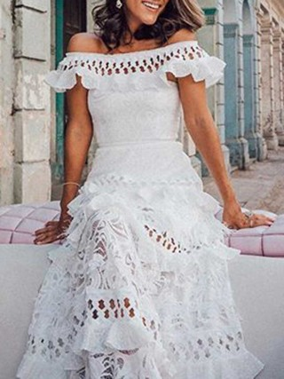Women's White Off Shoulder Lace Shift Loose Evening Dress