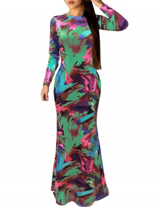 Natural Green Floor-Length Evening Dress Long Sleeve Sensual Curves