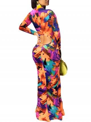 Zealous Orange Graffiti Print Evening Dress Zipper Slim Fit