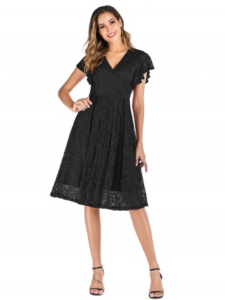 Exquisitely Black Ruffle Lace Dress Plain Back Zipper Wholesale Online
