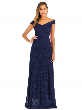 Ladies Purplish Blue Floor-Length Lace Zip Evening Dress Women Fashion Style