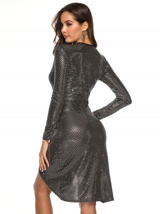 Causal Black Sequin Cross Tie V Neck Evening Dress Chic Trend