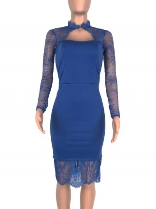 Extra Sexy Royal Blue Long Sleeve Evening Dress Lace Patchwork Leisure Time