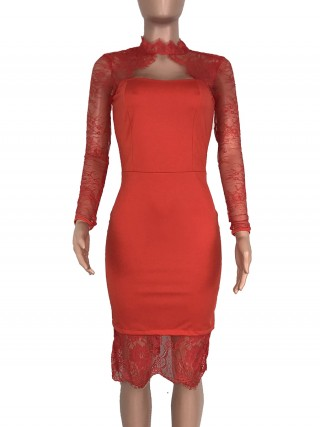 Particularly Red Hollow-Out Evening Dress Lace Patchwork Great Quality