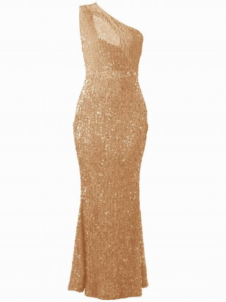 Feminine Gold Slanted Shoulder Evening Dress High Rise Casual Wear