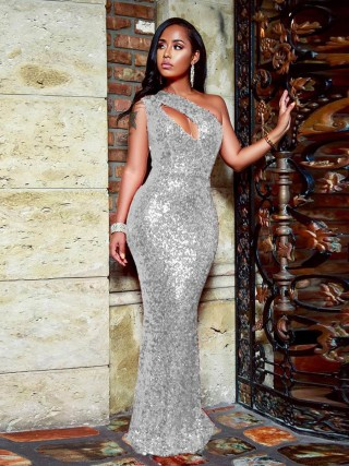 Brilliant Silver Hollow Out Evening Dress Sleeveless Women