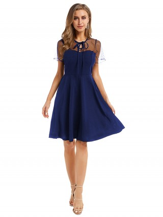 Laid-Back Royal Blue Hollow-Out Evening Dress Large Size Female