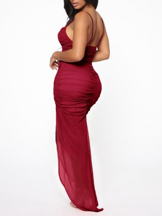 Sophisticated Wine Red Sling Ruched Evening Dress High Split