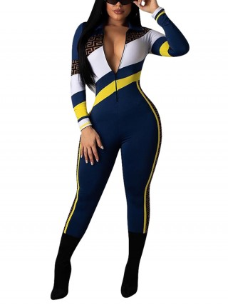 Dazzling Dark Blue Jumpsuit Full Sleeve Zip At Front All-Match Style
