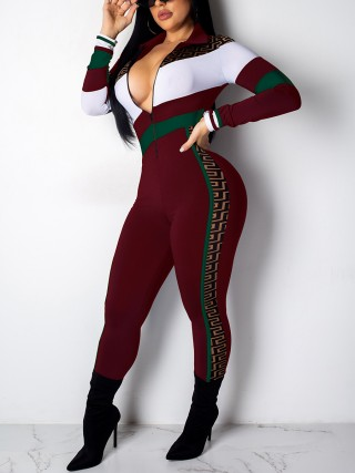 Stunning Wine Red Long Sleeve Jumpsuit Contrast Color Modern Fashion