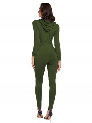 Breathtaking Green Solid Color Drawstring Jumpsuit Zipper Ladies