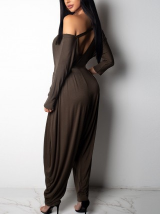 Laid-Back Brown Long Sleeve Full Length Jumpsuit All-Match Fashion