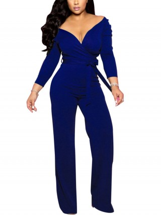 Fantastic Blue Ruched Full Sleeves Jumpsuit Tie Ladies