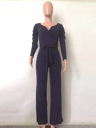 Glittering Purplish Blue Puff Sleeve Tie Jumpsuit V Collar