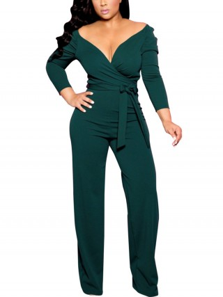 Striking Green Waist Tie Jumpsuit V Neck Solid Color
