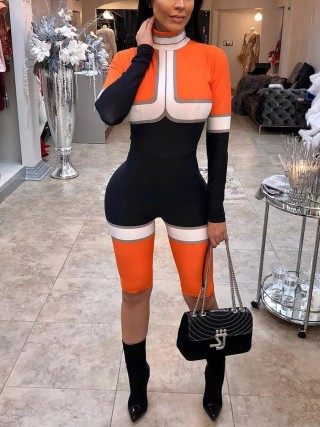 Diva Orange Zipper Colorblock High Collar Jumpsuit Feminine Fashion Trend