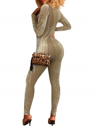 Excellent Khaki Solid Color Jumpsuit Ankle Length Ladies Elegance