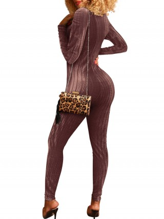 Colorful Wine Red Zipper Long Sleeve Tight Jumpsuit For Walking