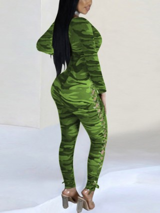 Fascinating Green Camouflage Jumpsuit Double Side Lace-Up Lady Dress
