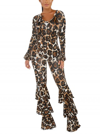 Nicely Brown Leopard Print Jumpsuit Layered Ruffle Super Sexy