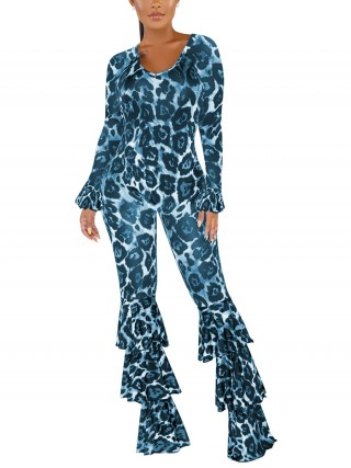 Pretty Blue Leopard Scoop Neck Layered Jumpsuit Dress For Women