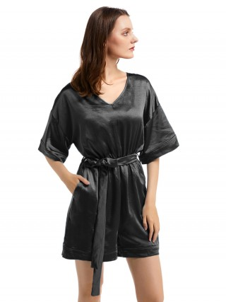 Demure Black Solid Color Jumpsuit Drop Shoulder Female Elegance