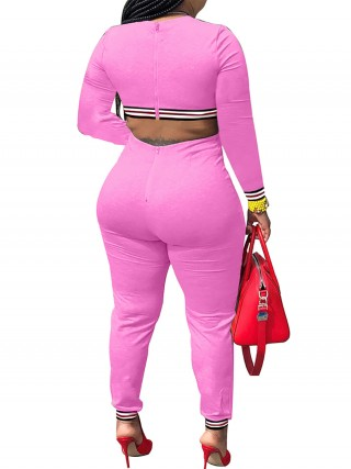 Fascinating Pink Crew Neck Patchwork Jumpsuit Zipper Outdoor