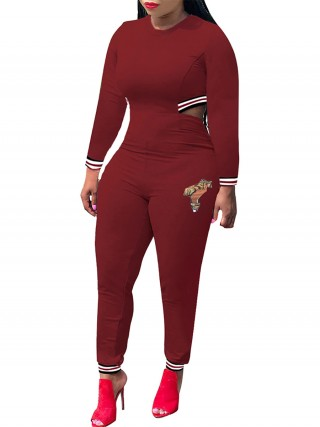 Faddish Wine Red Stripe Paint Full Length Jumpsuit Super Faddish