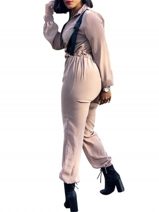 Body Hugging Skin Color Fitted Waist Zipper Jumpsuit Long Sleeve