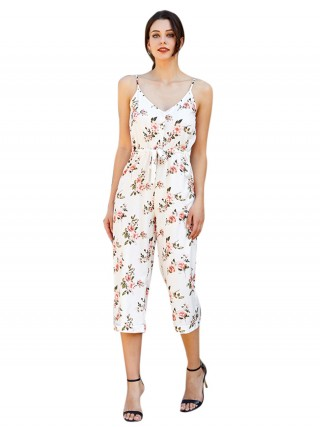 Charming White Sling Waist Tie V Neck Printed Jumpsuit Latest Styles