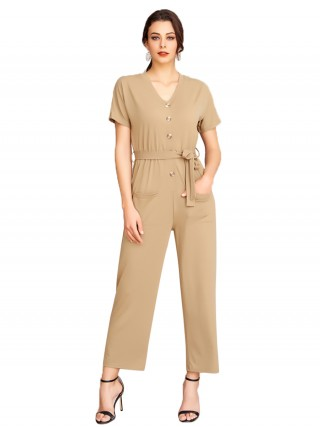 Versatile Fit Apricot V Collar Jumpsuit Short Sleeve Pocket Natural Fashion