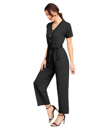 Glam Black Button Wide Leg Jumpsuit Short Sleeves Quick Drying