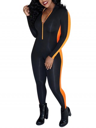 Exquisitely Orange Patchwork Ankle Length Zipper Jumpsuit Form Fit