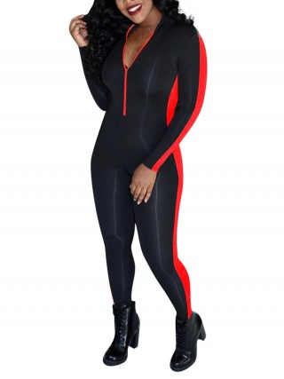 Inviting Red Jumpsuit Zipper Long Sleeve Patchwork Smooth
