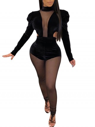Glitzy Black Puff Sleeves Mesh Patchwork Jumpsuit Outdoor