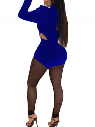 Ladies Blue Hollow Out Mesh Jumpsuit Mock Neck Fashion Style