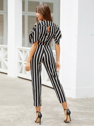 Stretchable Cutout Back V Neck Jumpsuit Stripe For Woman