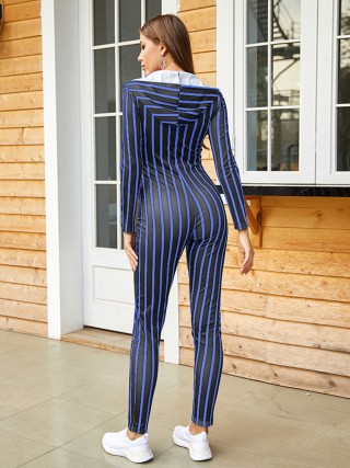 Affordable Blue Zipper Jumpsuit With Pocket Stripes Natural Fit