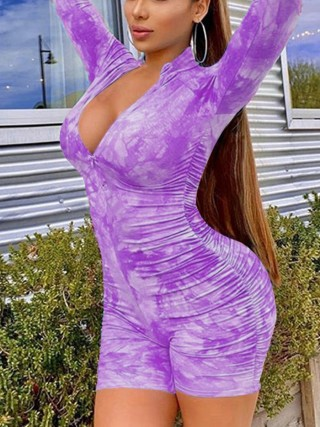 Conservative Purple Front Zip Tie-Dyed Jumpsuit Ruched Womenswear