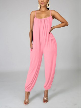 Fresh Pink Jumpsuit Square Neck Open Back Supper Fashion