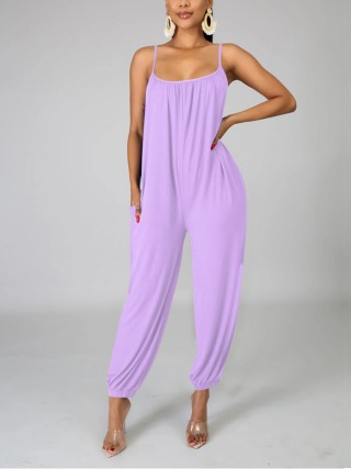 Luscious Purple Slender Strap Romper Pleated Pocket Supper Fashion