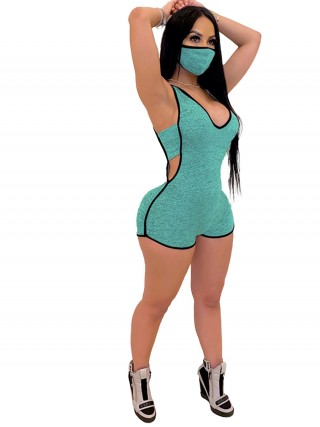 Green Plunge Neck Jumpsuit Hollow Out Strap Weekend Fashion