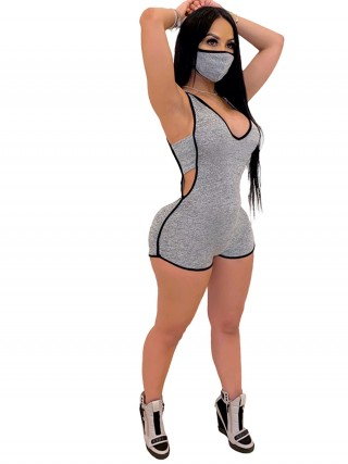 Suave Gray Sleeveless Mask Jumpsuit Cut Out Sexy Ladies