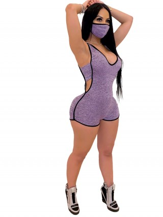 Ultra Hot Purple Hollow Out Hooded Collar Jumpsuit Sale Online