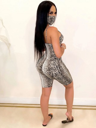 Good-Looking Gray Square Neck Serpentine Print Jumpsuit Outfits