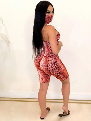 Natural Red Sling Snake Paint Jumpsuit With Mask Sensual Curves