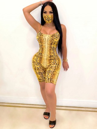 Elaborate Yellow Open Back Jumpsuit Thigh Length Weekend Time